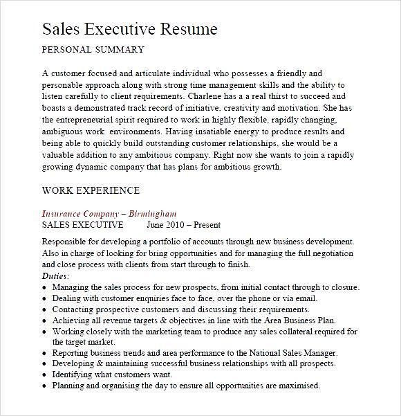 Sales Executive Resume PDF - Free Samples , Examples & Format ...
