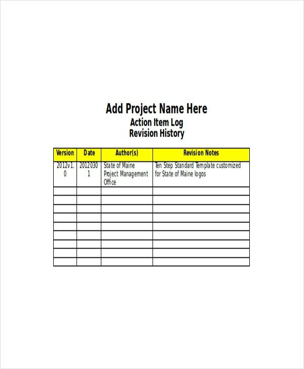 4+ Action Log Template - Free Word, Excel Documents Download ...