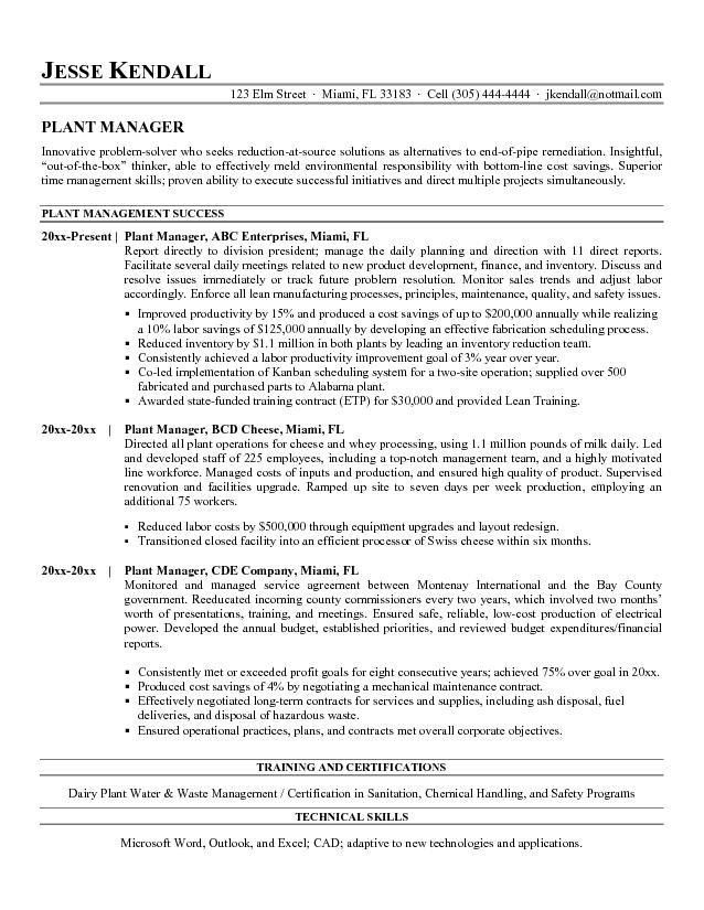 Charming Plant Manager Resume 2 Plant Resume Production Job ...