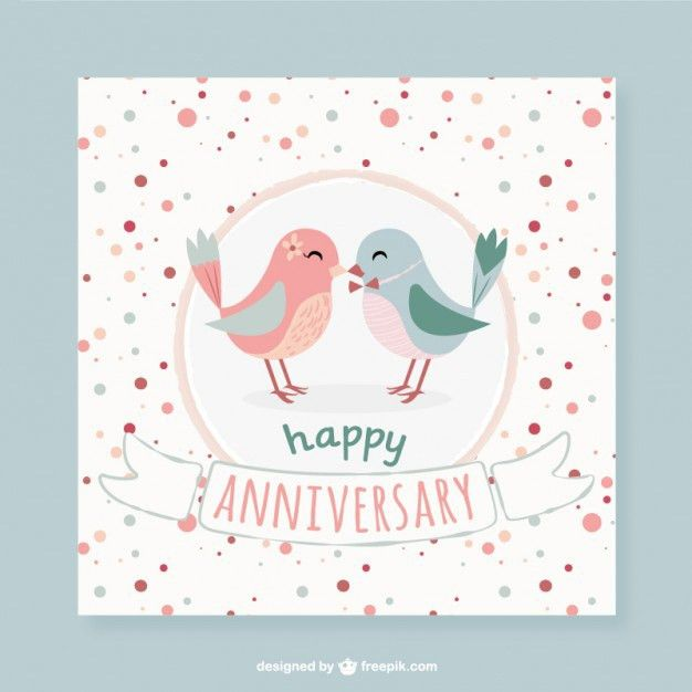 Lovely birds dotted anniversary card Vector | Free Download