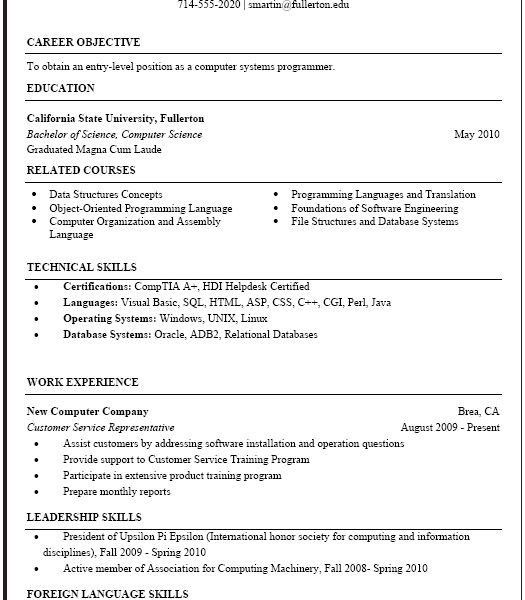 Stunning Design Science Resume Examples 13 Computer Science Resume ...