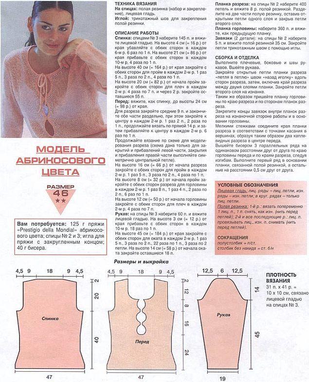 Мохеровая кофта спицами схема с описанием