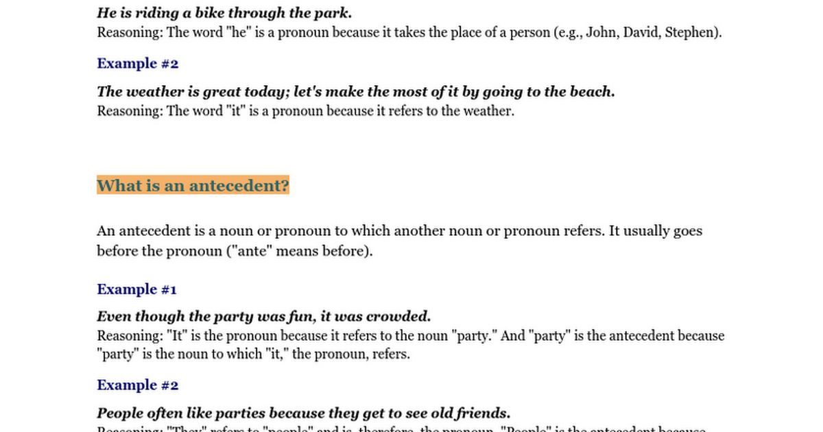 Pronoun-Antecedent Agreement - Google Docs