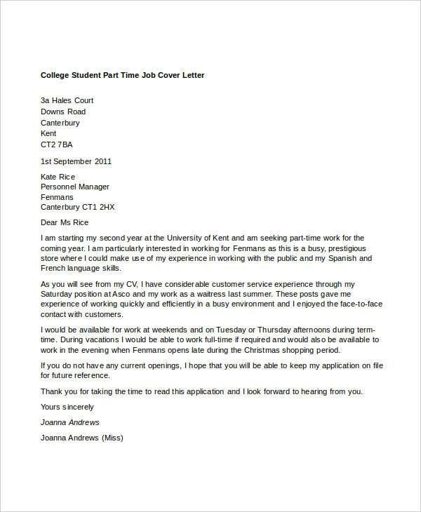 Cover Letter For Part Time Work #10682