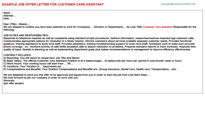 Customer Care Assistant Offer Letters