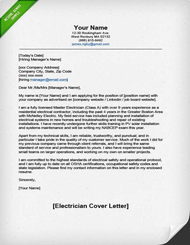 Professional Electrician Cover Letter | Resume Genius
