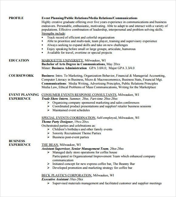 special event planner resume with event planner resume. event ...