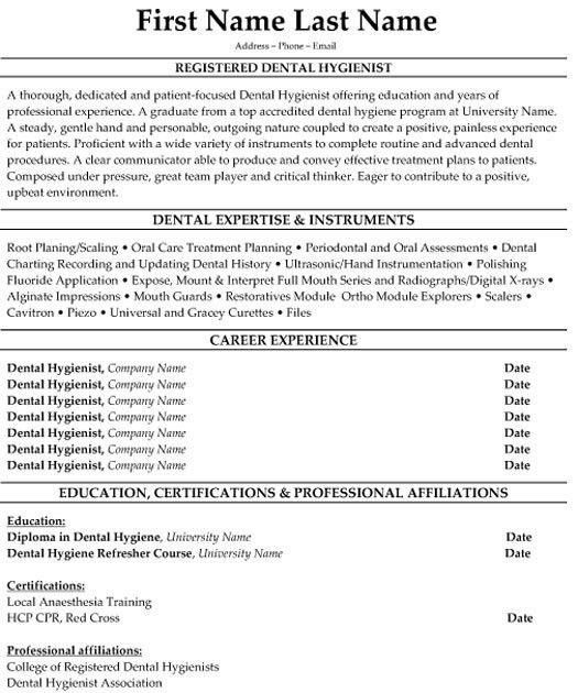 Dental Hygienist Resume. Dental Resume Example Resume Examples For .