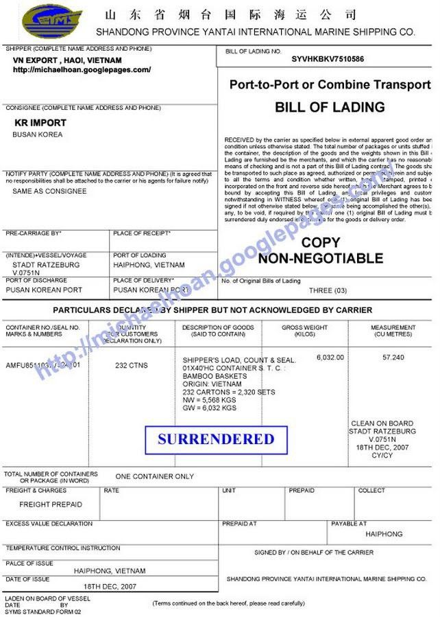 Surrender Bill of Lading - Vietnam Import and Export