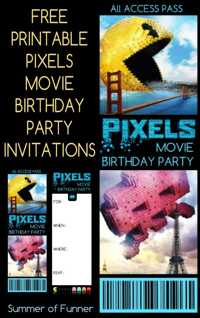 Free Printable Pixels Movie Birthday Party Invitations - Summer of ...