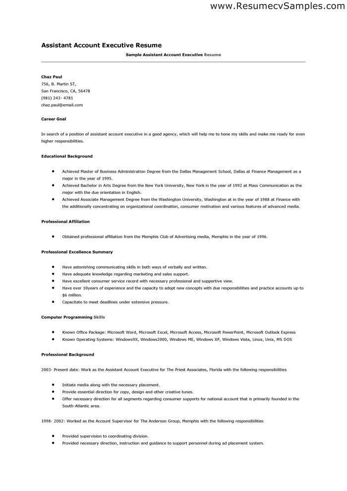resume format for accounts executive accounts executive resume