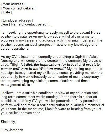 Cover Letter Example Nursing CareerPerfect | jennywashere.com