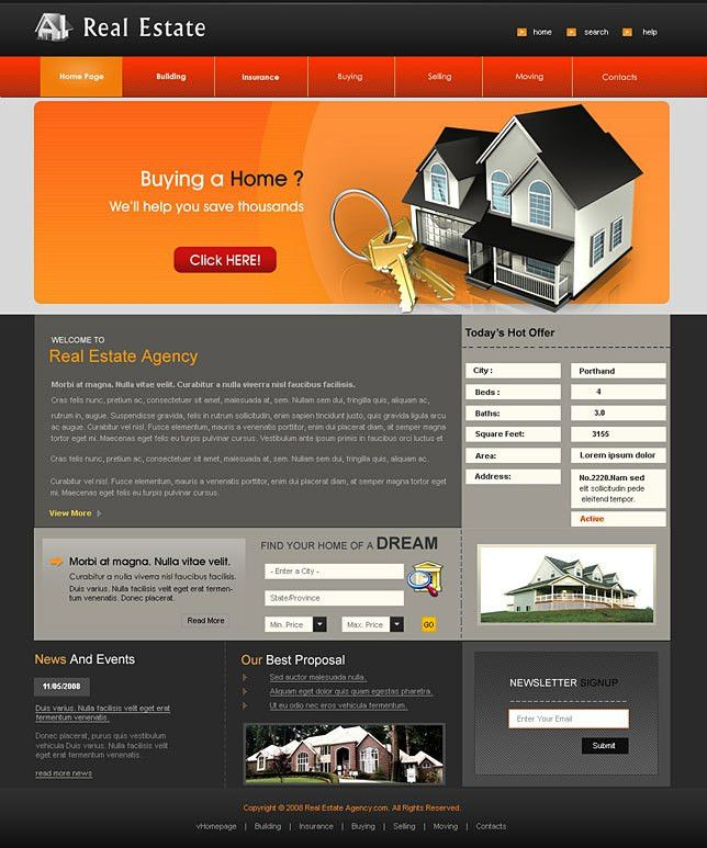Real estate web design templates download
