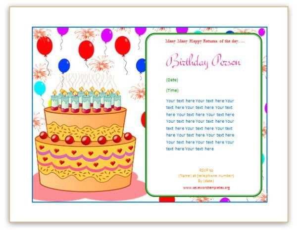Birthday Card Template. Cartoon Style Happy Birthday Greeting Card ...