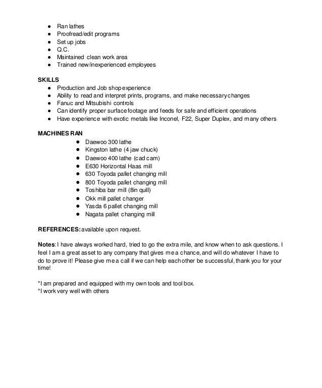 manual machinist resume sample sample machinist resume. word for ...