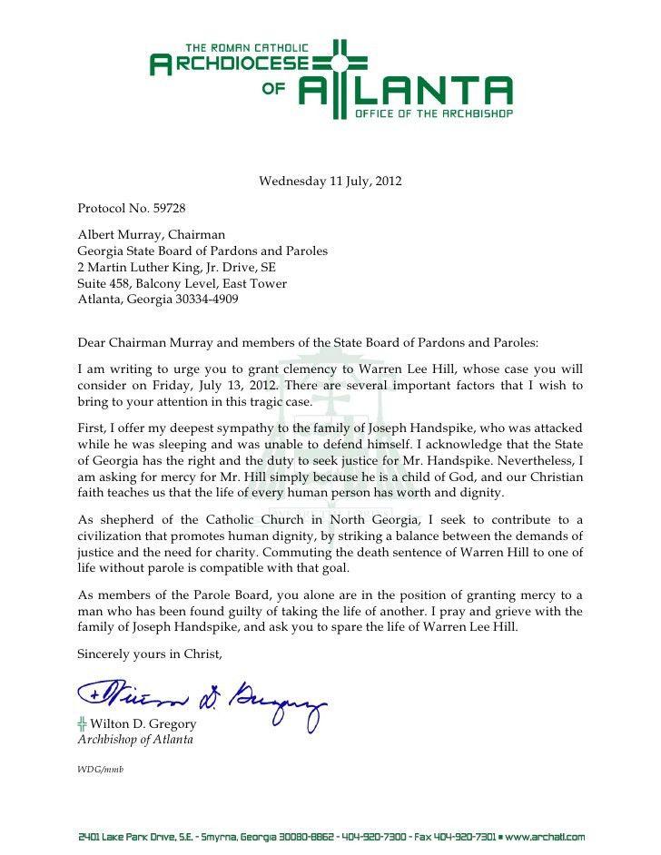 Clemency Letter - Warren Lee Hill