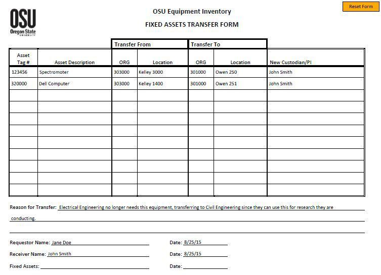 Transfer Request Form. Fixed Asset Transfer Form With Sample Data ...