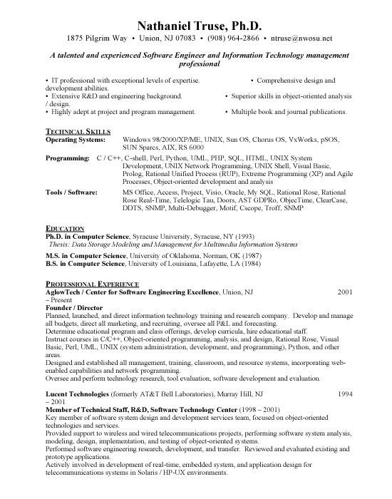 sample resume for experienced software test engineer automation ...