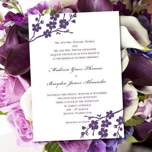 Invitation Printable Wedding Template Avery Purple