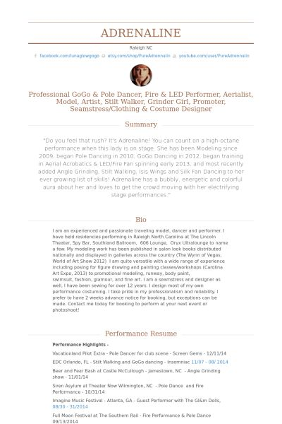 Dancer Resume samples - VisualCV resume samples database