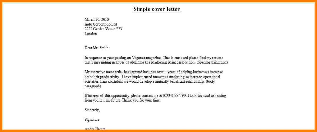Free Simple Cover Letter Examples