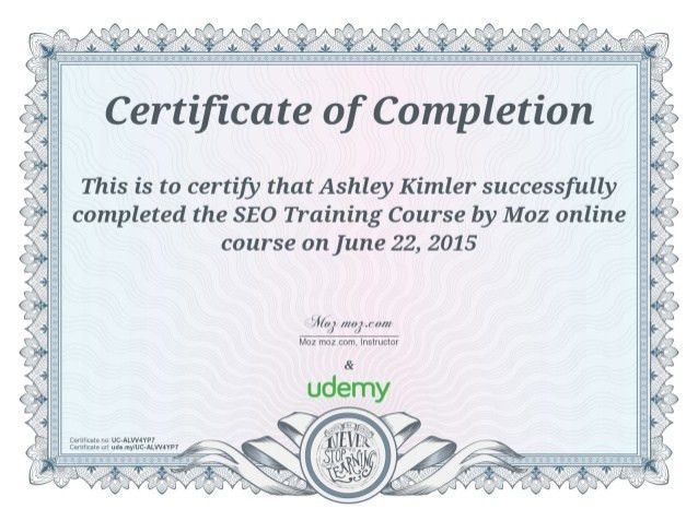of Completion of SEO Training Course by Moz Online