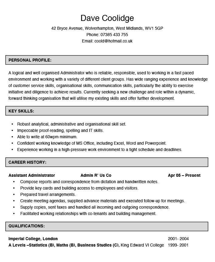 Administrator CV Example | Hashtag CV