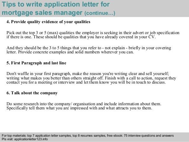 Mortgage sample cover letter
