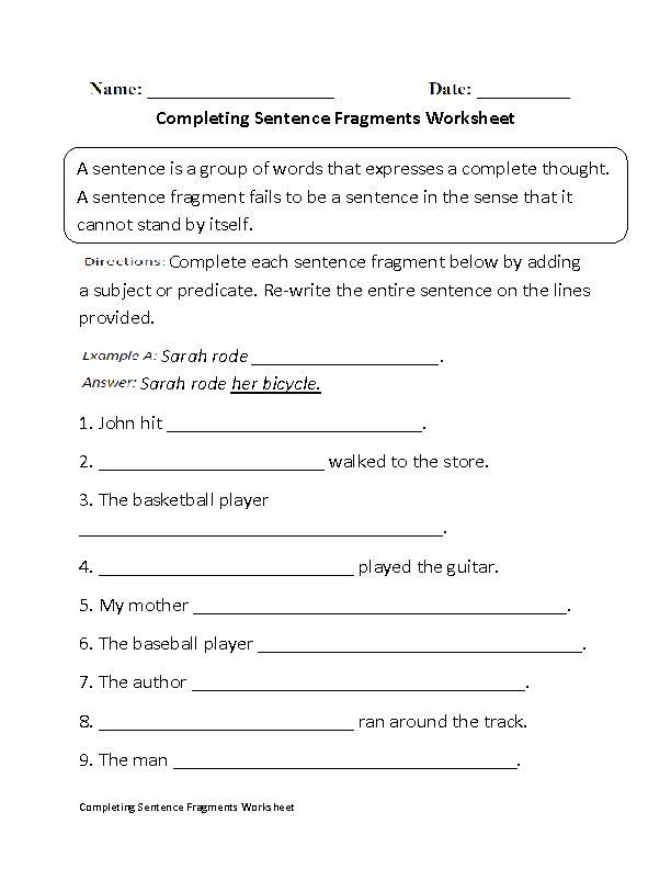 Englishlinx.com | Sentence Fragments Worksheets