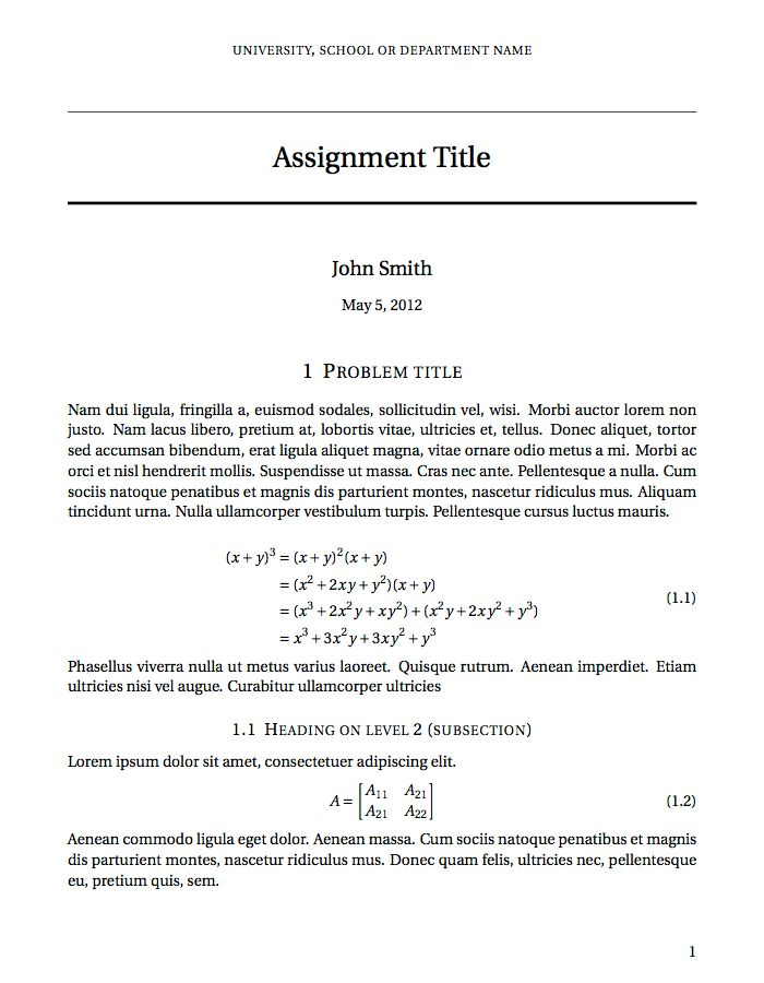 LaTeX Templates » Assignments