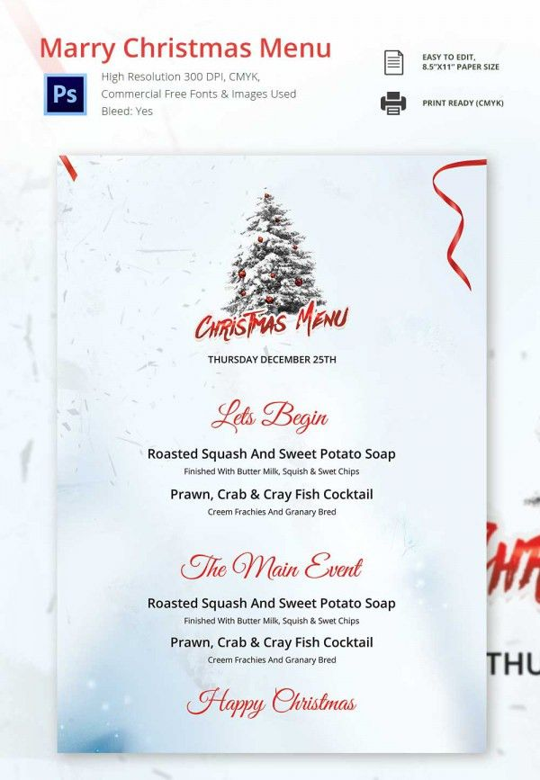 30+ Christmas Menu Templates - Free Sample, Example Format ...
