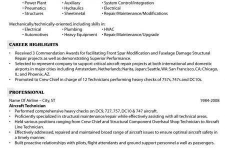 Aerospace Resume Samples - Reentrycorps