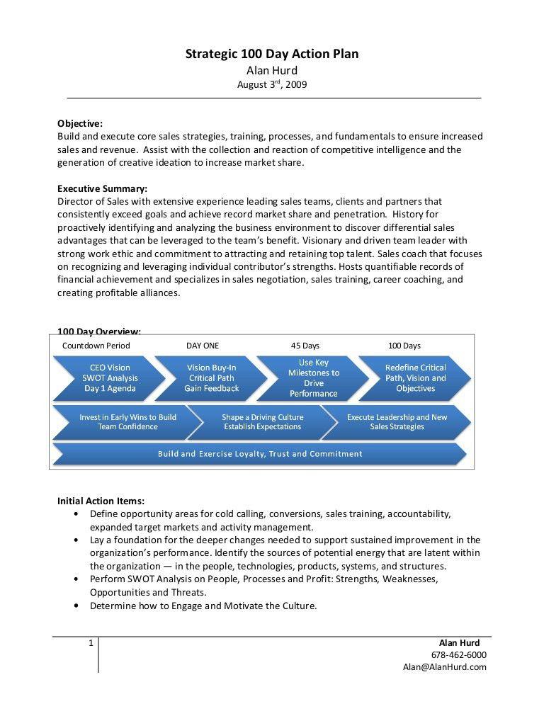 Alan Hurd Strategic 100 Day Action Plan Example