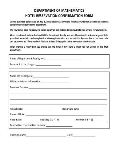 Sample Hotel Reservation Form - 10+ Free Documents in Word, PDF