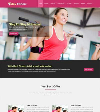 Shape Free Fitness Website Template - WebThemez