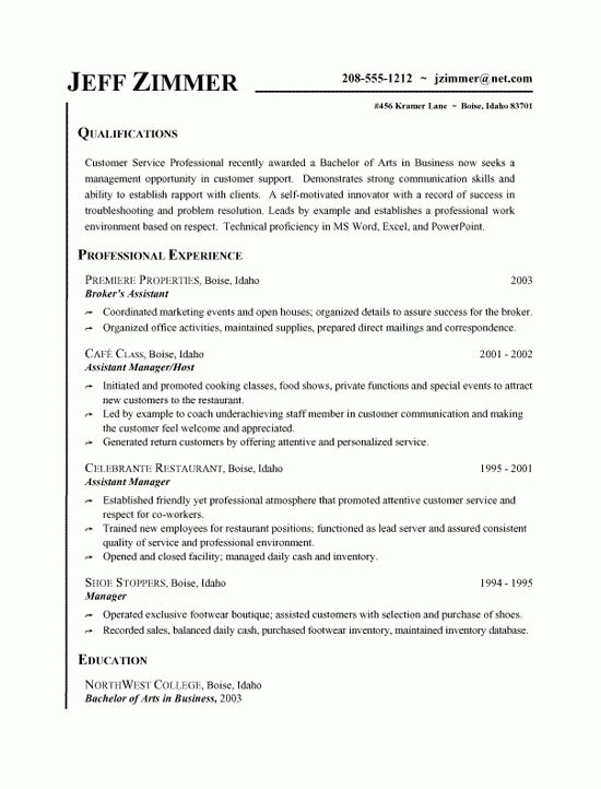 Customer Service Resume Example - Business Assistant & Host