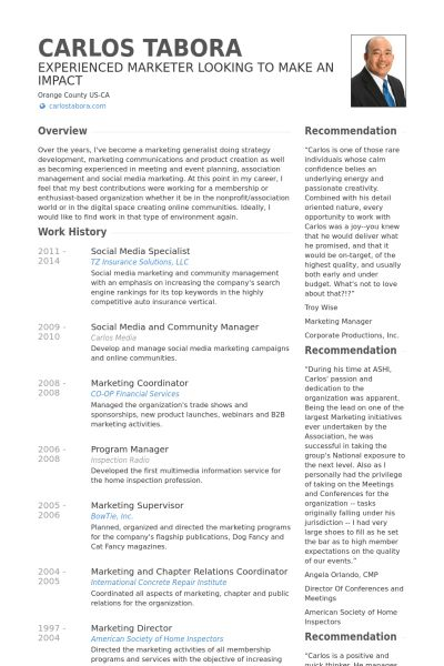 Social Media Specialist Resume samples - VisualCV resume samples ...