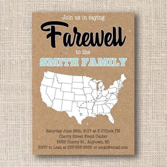 Printable Farewell Invitation Moving Card Farewell Invite
