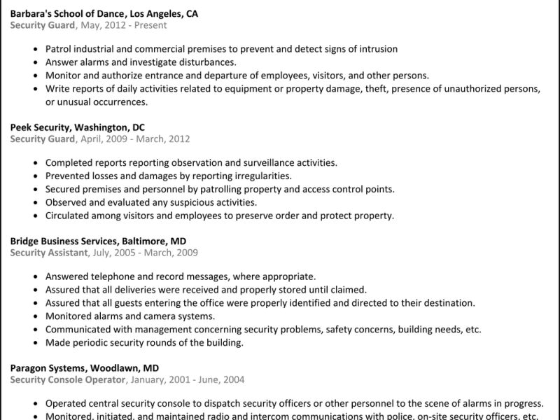 Clever Security Guard Resume Sample 12 Security Guard Resume ...