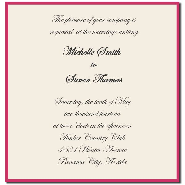 Sample Wedding Invitations Template | Best Template Collection