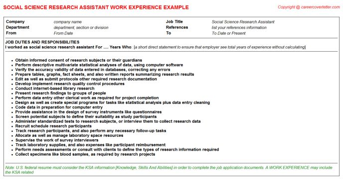 Social Science Research Assistant CV Work Experience Samples