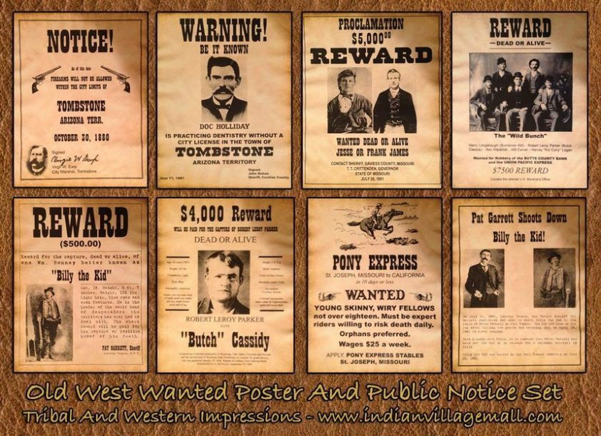 Real Wanted Posters From The Old West | Tattyfraney