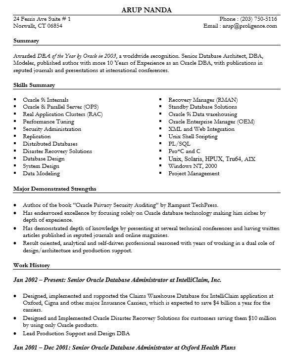 16 Free Sample Database Architect Resume – Sample Resumes 2016