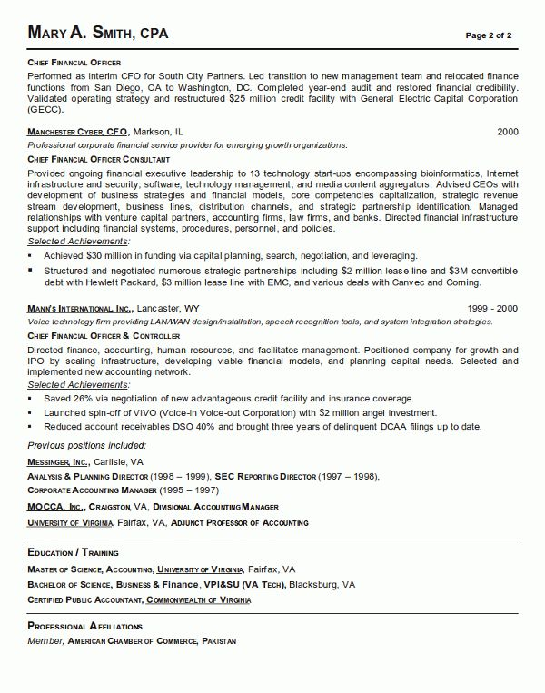 Resume Sample 21 - CFO / Finance Executive resume - Career Resumes