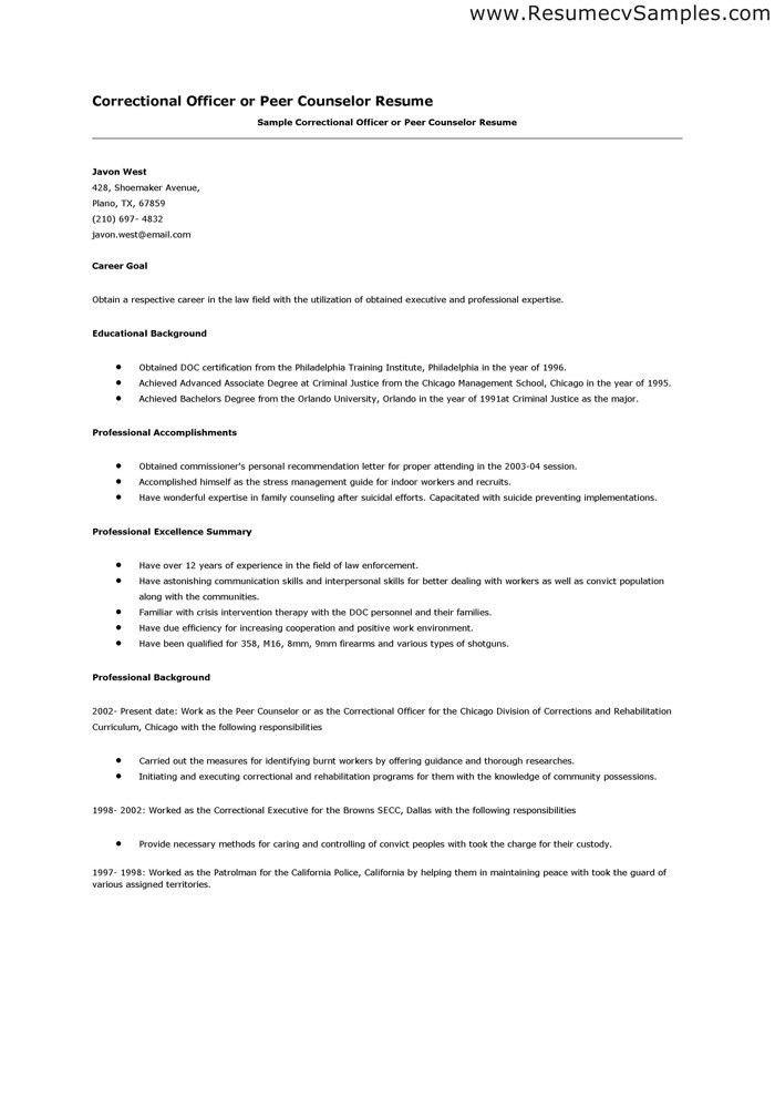 Detention Officer Resume Examples - http://www.resumecareer.info ...