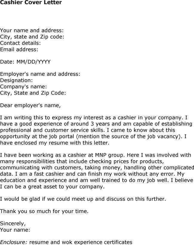 Cover Letter For Cashier Position | The Letter Sample