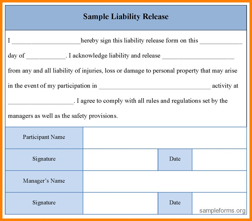 8+ simple release of liability form | meal plan spreadsheet