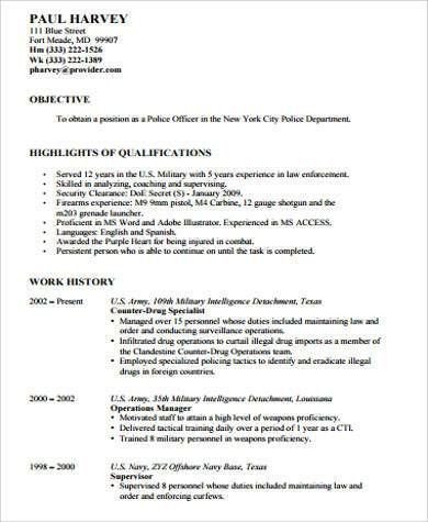 entry level police officer resumes