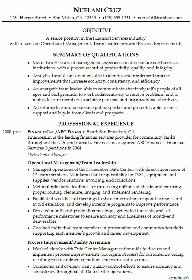 Resume for Senior Position in Financial Services - Susan Ireland ...