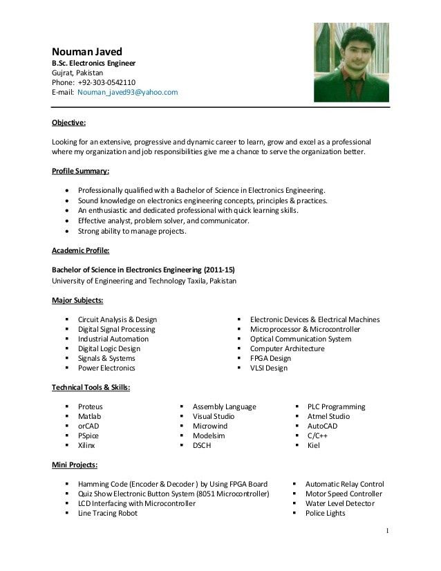 Electronics Engineer (Nouman Javed) CV